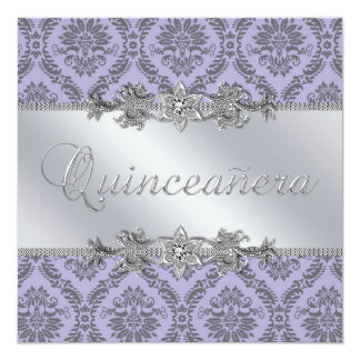 Elegant Gray and Purple Damask Quinceanera Announcements