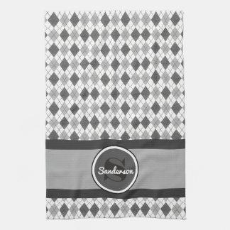 Elegant Gray Argyle w/Name Golf or Tea Towel