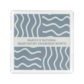 Elegant Gray Brain Injury Awareness Month Acrylic Tray