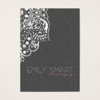 Elegant Gray Damasks White Vintage Lace Business Card