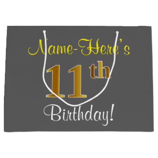 Elegant, Gray, Faux Gold 11th Birthday + Name Large Gift Bag