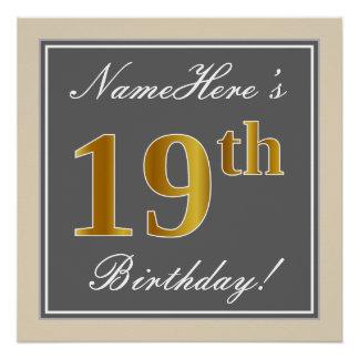 Elegant, Gray, Faux Gold 19th Birthday + Name Poster