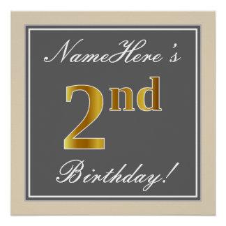 Elegant, Gray, Faux Gold 2nd Birthday; Custom Name Poster