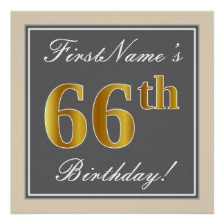 Elegant, Gray, Faux Gold 66th Birthday + Name Poster
