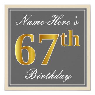 Elegant, Gray, Faux Gold 67th Birthday + Name Card