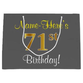 Elegant, Gray, Faux Gold 71st Birthday + Name Large Gift Bag