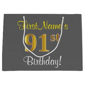 Elegant, Gray, Faux Gold 91st Birthday + Name Large Gift Bag