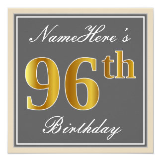 Elegant, Gray, Faux Gold 96th Birthday + Name Card