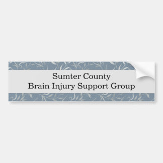Elegant Gray Leaves on Vintage Blue Bumper Sticker