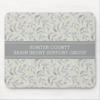 Elegant Gray Leaves Personalized Support Group Mouse Pad