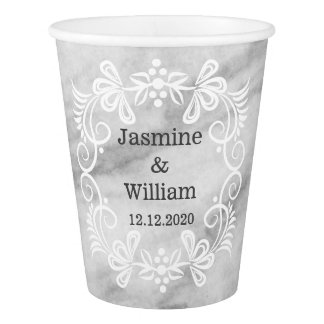 Elegant Gray Marble Pattern Wedding Paper Cup