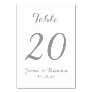 Elegant Gray Script Wedding Table Number Card