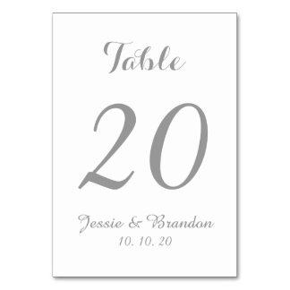 Elegant Gray Script Wedding Table Number Card Table Card