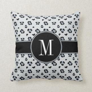 Elegant Gray Snow Leopard Silver Monogram Cushion