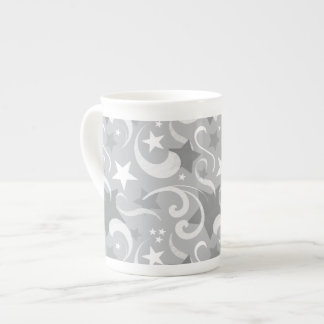 Elegant, Gray, Stars, White, Swirl, Magical, Grey Tea Cup