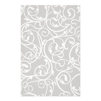 Elegant Gray Vintage Scroll Damask Pattern Stationery