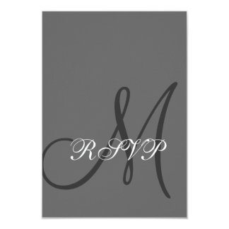 Elegant Gray Wedding RSVP Card with Initial
