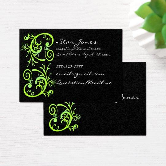 Elegant Green and Black Swirl Business Card
