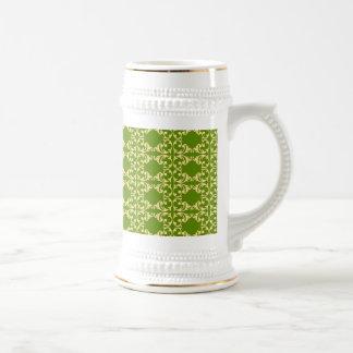 Elegant Green and Cream Damask Swirls Pattern Beer Stein