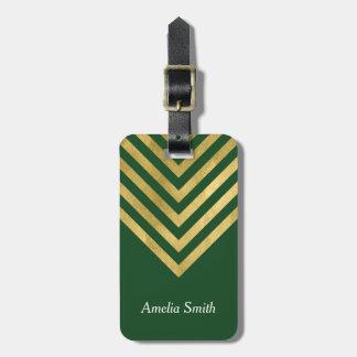 Elegant Green and Faux Gold Geometric Luggage Tag