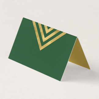 Elegant Green and Faux Gold Geometric Place Card