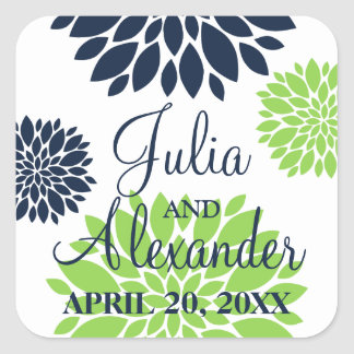 Elegant Green and Navy Blue Floral Burst Wedding Square Sticker