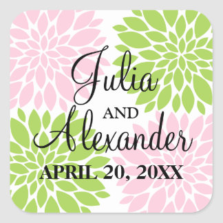 Elegant Green and Pink Blush Floral Burst Wedding Square Sticker