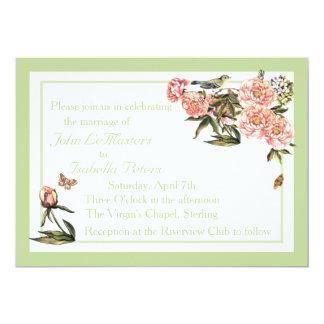 Elegant Green and Pink Flower and Butterfly Invite