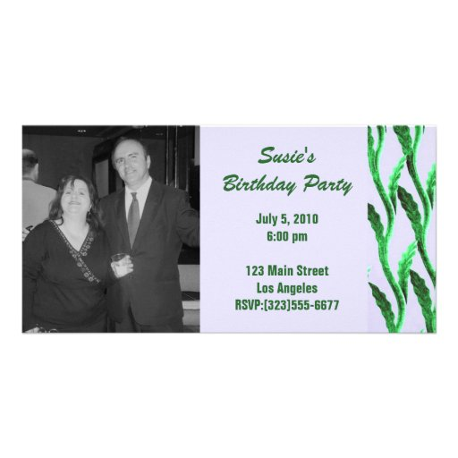 elegant green branches Birthday Customized Photo Card
