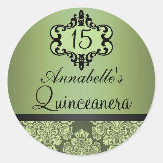 Elegant Green Chic Damask Quinceanera Sticker