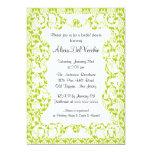 Elegant Green Damask Bridal Shower Invitation 13 Cm X 18 Cm Invitation Card