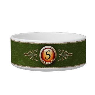 Elegant Green Damask Pattern Monogram Bowl