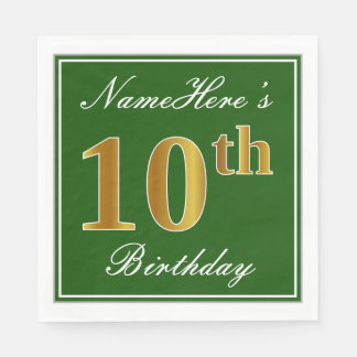 Elegant Green, Faux Gold 10th Birthday + Name Paper Napkin