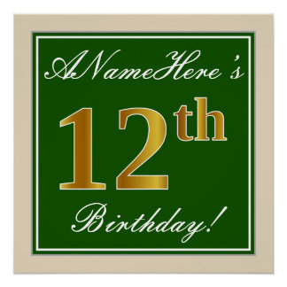 Elegant, Green, Faux Gold 12th Birthday + Name Poster
