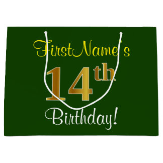 Elegant, Green, Faux Gold 14th Birthday + Name Large Gift Bag