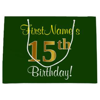 Elegant, Green, Faux Gold 15th Birthday + Name Large Gift Bag