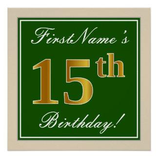 Elegant, Green, Faux Gold 15th Birthday + Name Poster