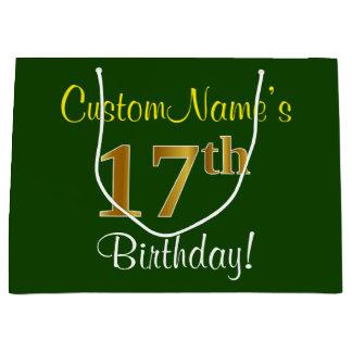Elegant, Green, Faux Gold 17th Birthday + Name Large Gift Bag