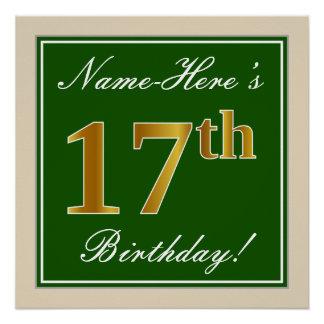 Elegant, Green, Faux Gold 17th Birthday + Name Poster