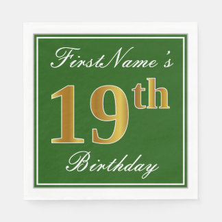 Elegant Green, Faux Gold 19th Birthday + Name Disposable Serviette