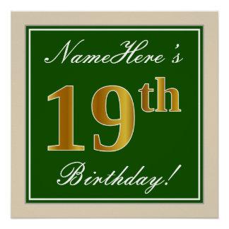 Elegant, Green, Faux Gold 19th Birthday + Name Poster