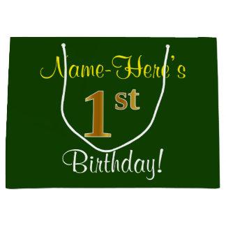 Elegant, Green, Faux Gold 1st Birthday + Name Large Gift Bag