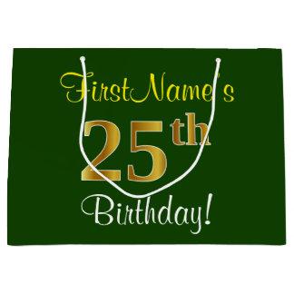 Elegant, Green, Faux Gold 25th Birthday + Name Large Gift Bag