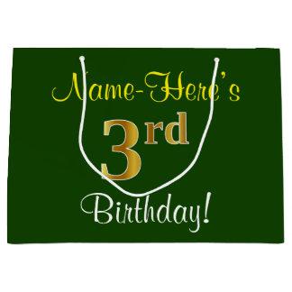 Elegant, Green, Faux Gold 3rd Birthday + Name Large Gift Bag