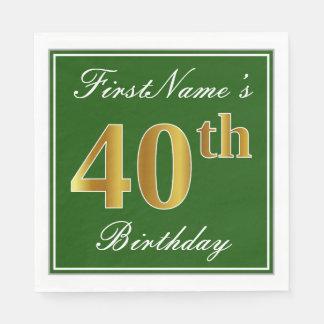 Elegant Green, Faux Gold 40th Birthday + Name Disposable Napkins