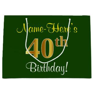 Elegant, Green, Faux Gold 40th Birthday + Name Large Gift Bag