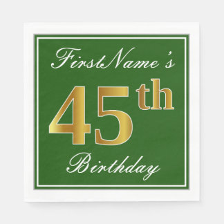 Elegant Green, Faux Gold 45th Birthday + Name Disposable Napkins
