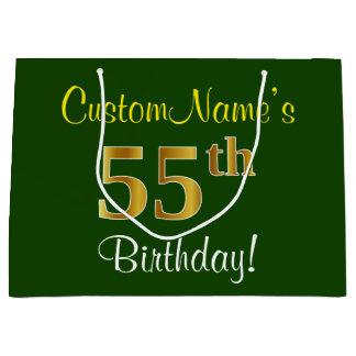 Elegant, Green, Faux Gold 55th Birthday + Name Large Gift Bag