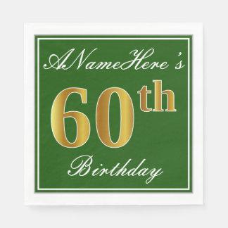 Elegant Green, Faux Gold 60th Birthday + Name Disposable Serviettes