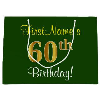 Elegant, Green, Faux Gold 60th Birthday + Name Large Gift Bag